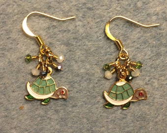 Green, white, and purple enamel turtle charm earrings adorned with tiny dangling green, white and purple Chinese crystal beads.