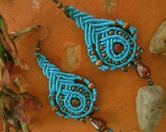 Turquoise earrings Boho earrings Statement earrings Dangle earrings Earrings gift Macrame earrings Tribal Gypsy earrings Gift for girl