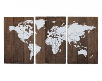 Large Wood World Map 3 Panel Travel Pin Map