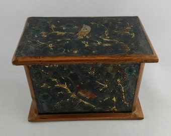 Robert M Weiss Reverse Painting Hand Crafted Hinged Box, Bird Motif, Vintage, Peru, Signed