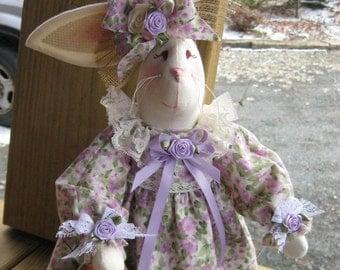 Shabby Chic Bunny, Country Bunny, Victorian Bunny, Easter Decor Bunny, Handmade Fabric Bunny, Fabric Bunny Doll