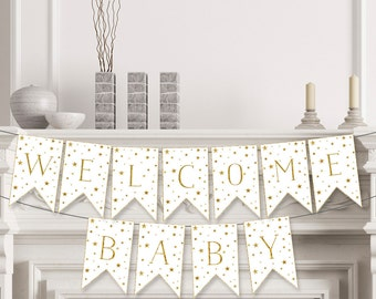 Welcome Baby Banner , Baby Shower Banner , Twinkle Twinkle Little Star Baby Shower Decorations , Welcome Banner , DIY , Printable - STG03