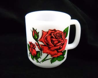 Milk Glass Mug Vintage 1979 Glasbake Rose the Language of Flowers Collectible Glass/Glassware/Drinkware/Coffee/Tea