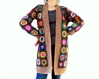 Vintage taupe wool and multicolored crochet jacket