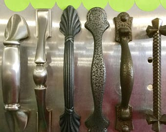 Vintage Cabinet Handles, chrome, silver, grey, new old stock