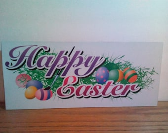 Happy Easter wood block home decor