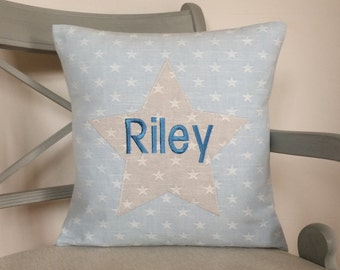 Personalised Boys Blue and Grey Stars & Stripes Cushion with Applique - Handmade