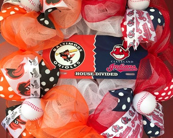 House Divided Wreath Baseball wreath Cleveland Indians Baltimore Orioles wreath MLB Wreath Cleveland Indians Baltimore Orioles decor