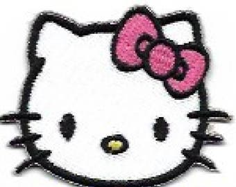 Mini Hello Kitty Head Shot with Pink Bow Embroidered Patch / Iron On Applique