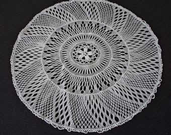 Vintage French very fine hand crochet white cotton doily (04771)