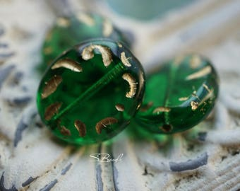 Lush Green, Oval Beads, Czech Beads, Beads, N1906