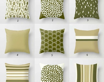 Olive Green Pillow Covers, Dark Green, Cream Throw Pillows, Striped Pillow,  Dot