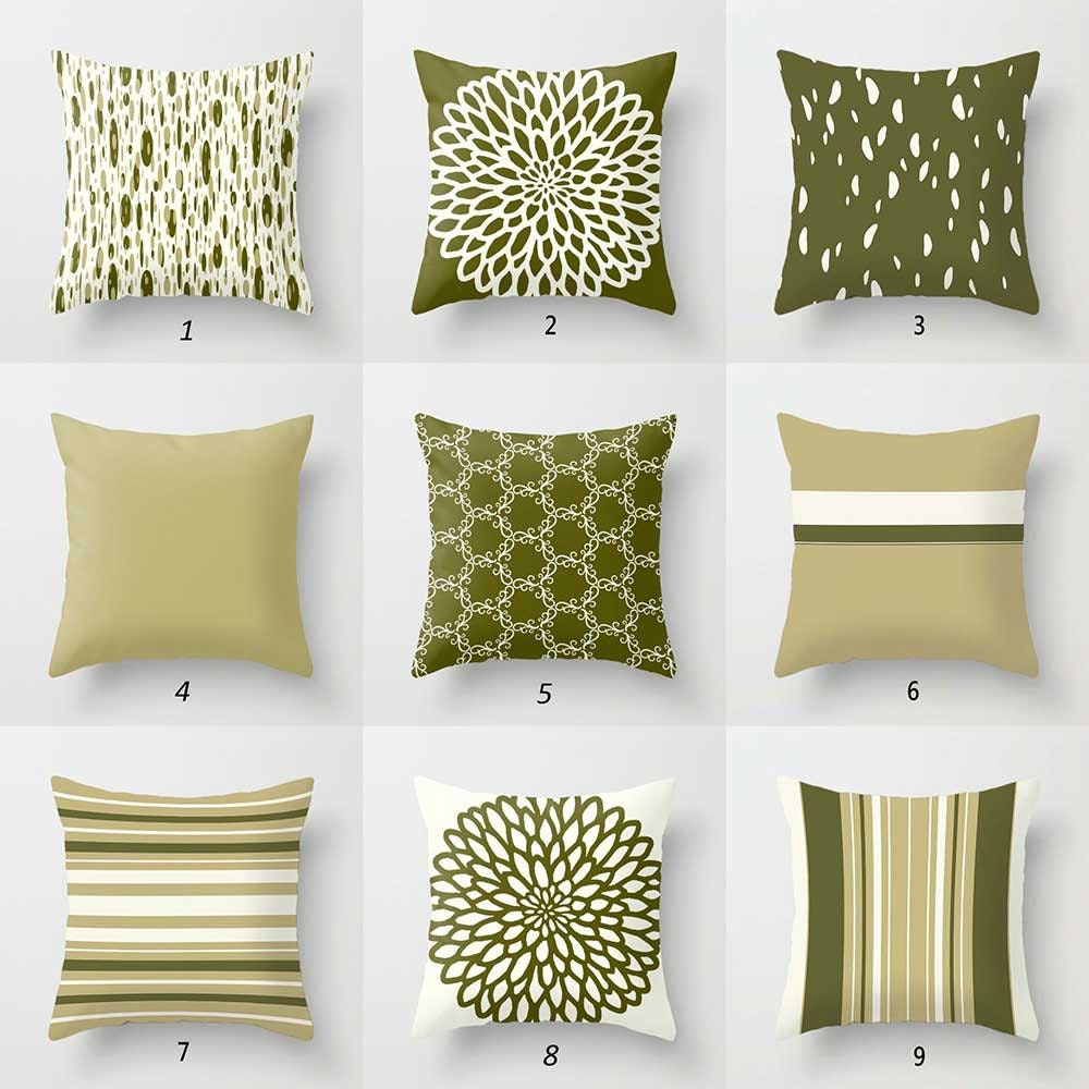 olive green pillow covers dark green cream throw pillows. Black Bedroom Furniture Sets. Home Design Ideas