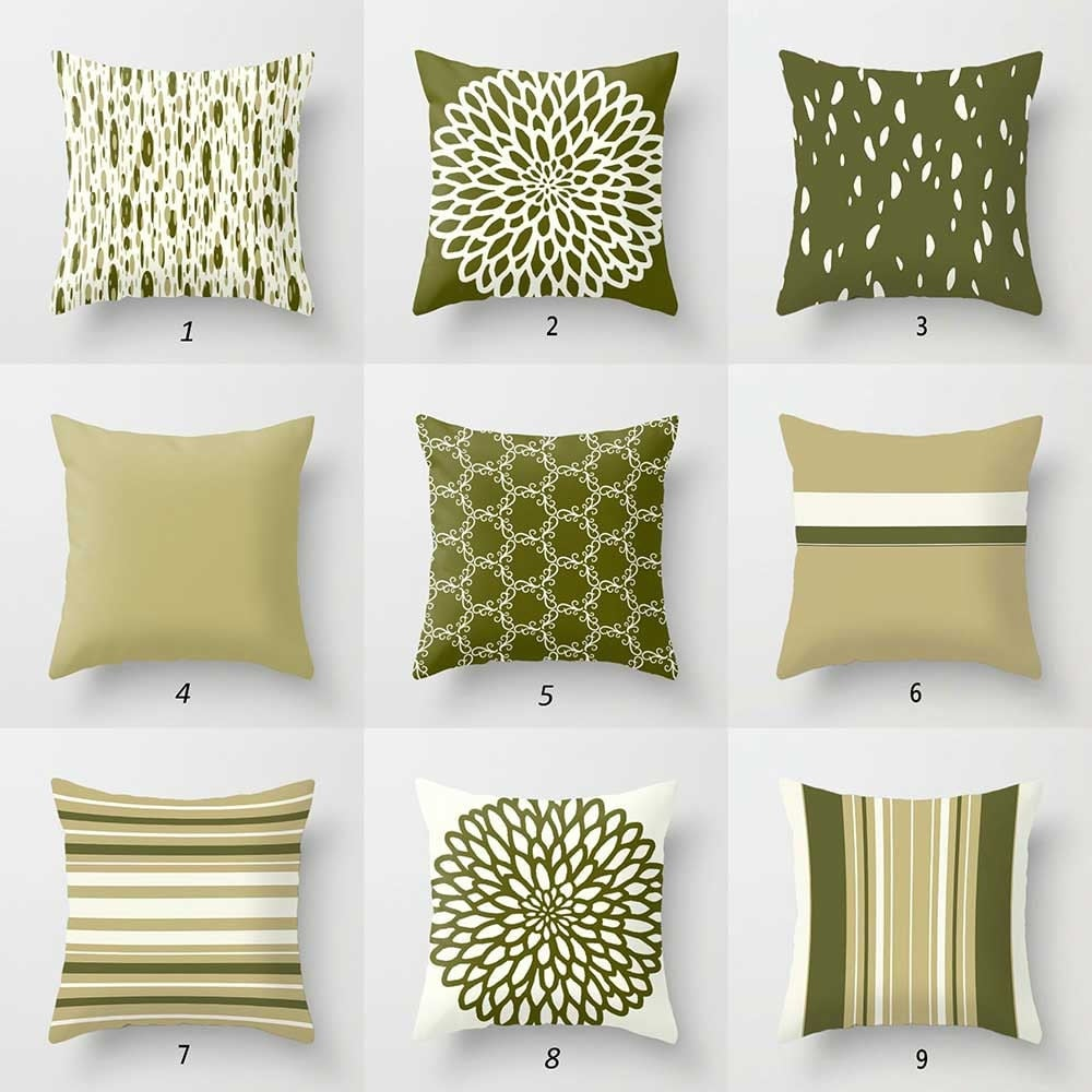 Throw Pillows For Dark Green Couch : Olive Green Pillow Covers Dark Green Cream Throw Pillows