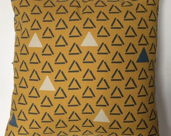 Triangles Mustard Cushion