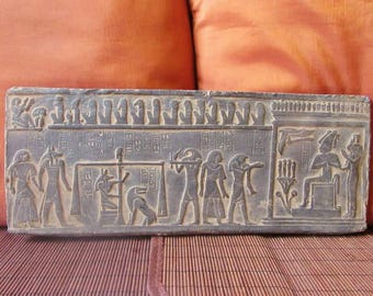 RARE Amazing Hand Carved Antique Egyptian Wall Plaque of Ancient JUDGMENT DAY..Large