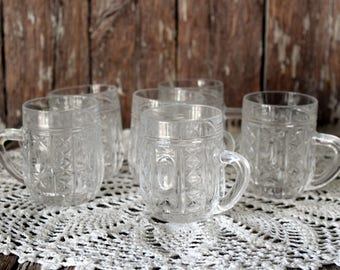 Set of 6 Vintage Soviet Crystal Mugs Pressed Glasses Coffee Mugs Small mulled wine Glasses USSR Traditional Soviet Retro