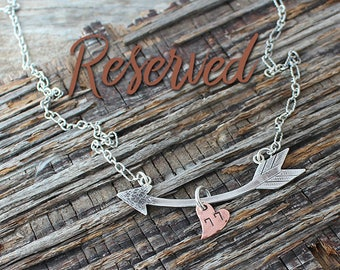 RESERVED, Custom Arrow with Copper Heart Pendant, Handmade Sterling Silver, Visible Faith