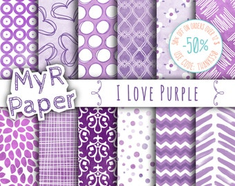 "Purple digital paper: ""I Love Purple"" Watercolor Effect Purple & Lavender in Lilac and White - digital paper watercolor"