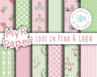 """Valentines Digital Paper: """"Love in Pink & Green"""" for scrapbooking, invite, card – perfect for Valentine's day and Shabby Chic projects"""