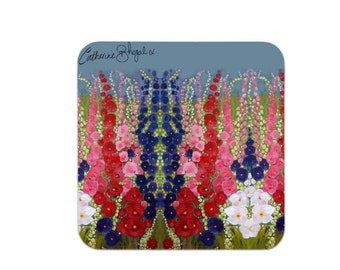 Premium Coasters pack of 4 hollyhocks great for adding colour to dining experience