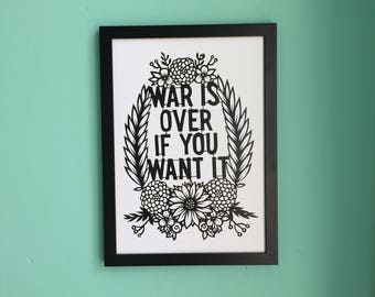 Inspirational Floral Beatles Digital Print A4 - War Is Over