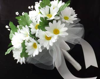 Daisy Wedding Bouquet, Bridesmaid Bouquet, Artificial Flowers, Country, Bridal, Wedding