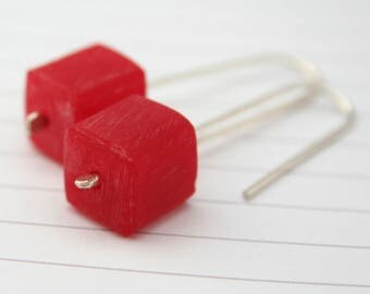Resin Earrings | Red Cube | Sterling Silver Ear Hooks