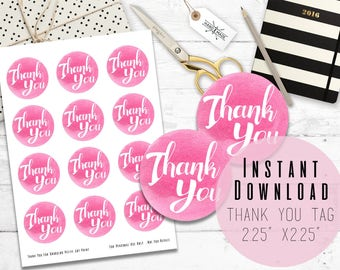 """2.25""""x 2.25"""" Round Pink Watercolor Printable Digital Thank You Tags - Printable Favor Tags - Baby Shower - Birthday - Instant Download"""