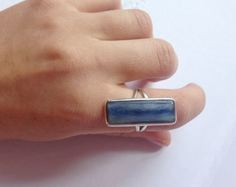 Elegant Natural Rectangular Deep Rainsky Blue Kyanite Sterling Silver Ring ! Don't miss out!