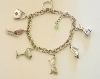 Silver Tone Charm Bracelet with 7 Crystal Charms