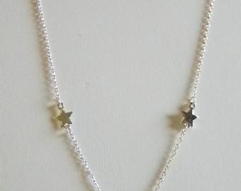 Trifari Silver Tone Chain Star Necklace