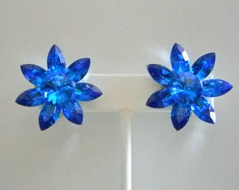Bright Blue Crystal Clip Earrings