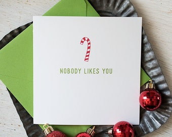 Christmas Humor, Christmas Card, Holiday Humor, Funny Christmas Card, Greeting Card, Candy Canes, Christmas Mail, Sarcasm Card
