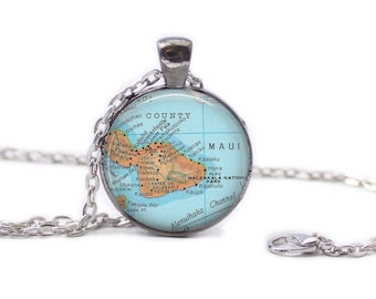 Maui Hawaii Necklace Wedding Jewelry Hawaii Jewelry Travel Necklace Maui Jewelry Gift for Traveler