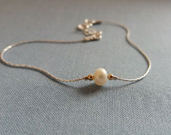 SALE Pearl Bracelet, Sterling Silver Pearl Bracelet, Small Pearl Bracelet, Freshwater Pearl, Ivory Pearl, Dainty Delicate, Stacking Layering