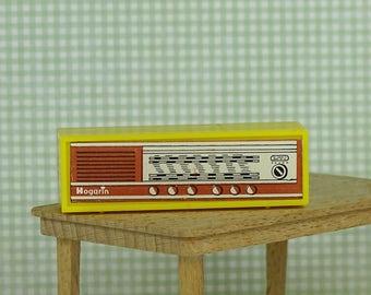 Doll house vintage radio 1970s Hogarin yellow plastic