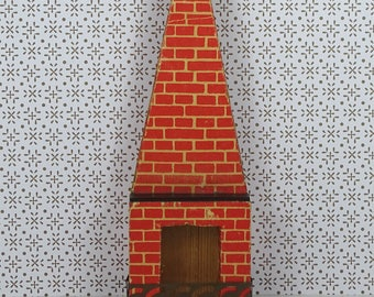 Doll house vintage fireplace 1940s furniture wood