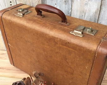 Two tone Brown Textural Vintage Hard Suitcase / Luggage ReFabulousReVamped  ReFabulous