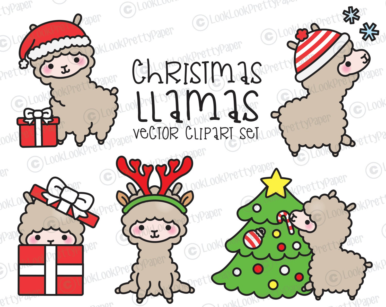 Premium Vector Clipart Kawaii Christmas Llamas Cute