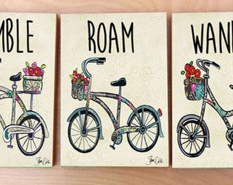 Bike art panel print set.  Bicycle decor for home or office.  Bike decor for baby nursery and kids room.  Bicycle accessory.  Bike lover art