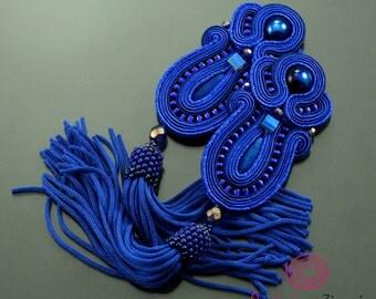 Sapphire tassel earrings, soutache earrings, sapphire earrings, extra long navy blue fringe earrings, unque earrings, statement earrings