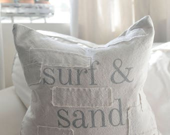 surf and sand grain sack style pillow cover. comes in 16x16, 18x18, 20x20 or 16x26. patches optional.