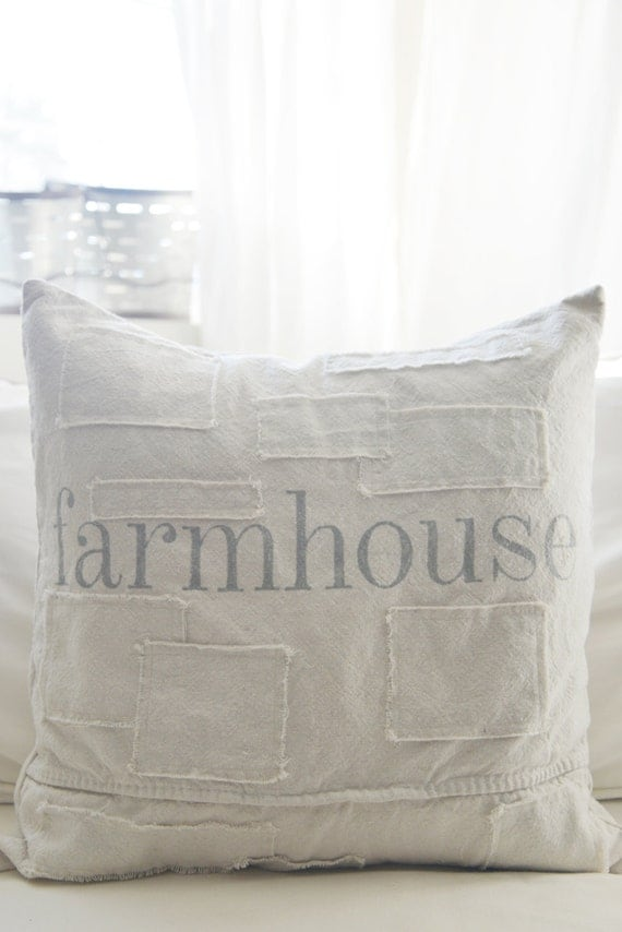 farmhouse grain sack style pillow cover. available in 16x16, 18x18, 20x20, 16x24 and 16x26. available with or without patches