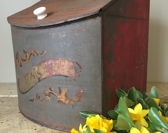 Beautiful Chippy Paint Antique Metal Bread Box or Biscuit Tin