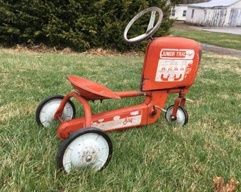 Vintage Red and White AMF Junior Pedal Tractor