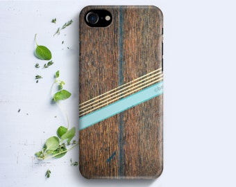 iPhone Case - Geometric Stripes on Wood Texture - iPhone 4/4s iPhone 5 iPhone 5c iPhone 5s iPhone 6 iPhone 6s iPhone SE iPhone 7