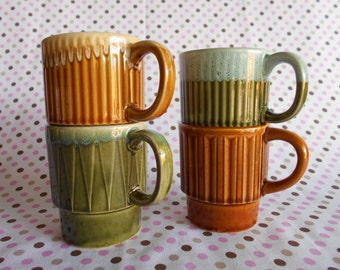 Retro Stacking Drip Glaze Mugs Coffee Cups  Set of 4 Made in Japan #10295