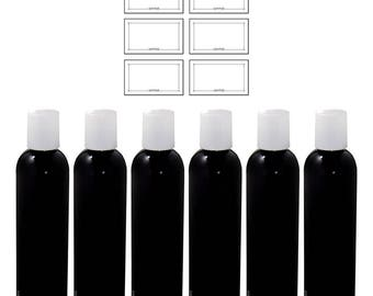 Black 4 oz Slim Cosmo Round PET Plastic Bottle with White Disc Cap (6 pack)+ Labels ***FREE SHIPPING***