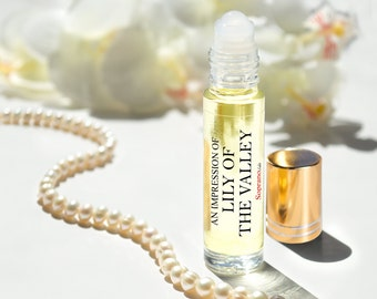 LILY of THE VALLEY Pure Perfume Oil. Natural, Vegan, Coconut Oil Luxury Roll-On Perfume. Alcohol Free. Travel Size 1/3 oz (10 ml)